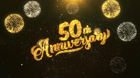 50th happy anniversary Celebration, Wishes, Greeting Text on Golden Firework Animation
