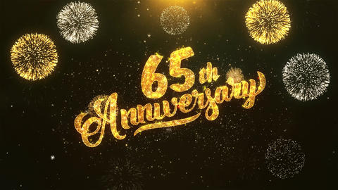65th happy anniversary Celebration, Wishes, Greeting Text on Golden Firework Animation