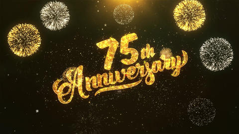 75th happy anniversary Celebration, Wishes, Greeting Text on Golden Firework Animation