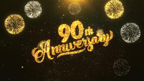 90th happy anniversary Celebration, Wishes, Greeting Text on Golden Firework Animation
