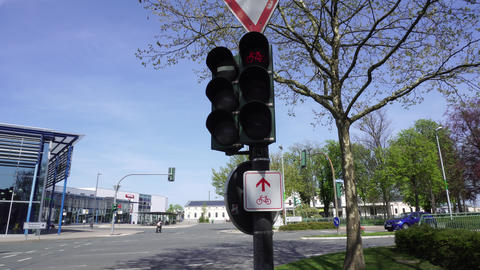 Bicycle Traffic Signal Changing Lights, Semaphore In Germany GIF