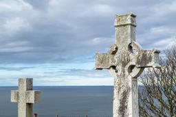 Llandudno / Wales, UK - April 22 2018 : Dramatic graves standing at St Tudno's フォト