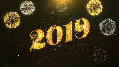 Happy new year 2019 2 Celebration, Wishes, Greeting Text on Golden Firework Animation