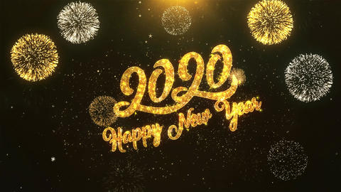 2020 Happy New Year Celebration, Wishes, Greeting Text on Golden Firework Animation