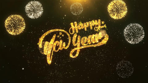 Happy New Year Celebration, Wishes, Greeting Text on Golden Firework Animation