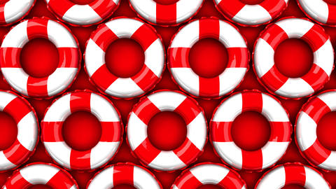 Red swim rings on red background Animation