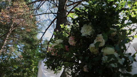 Registration of wedding places, floristics, accessories for weddings. sunny day Footage