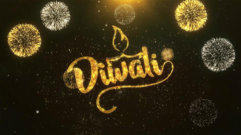 Happy Diwali Celebration, Wishes, Greeting Text on Golden Firework Animation