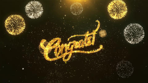 Congrats Celebration, Wishes, Greeting Text on Golden Firework Animation