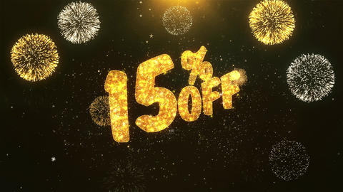 15% off Celebration, Wishes, Greeting Text on Golden Firework Animation