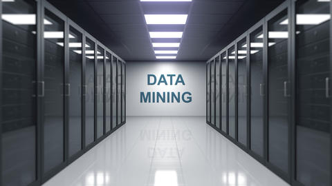 DATA MINING caption on the wall of a server room Live Action