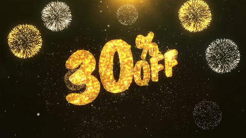 30% off Celebration, Wishes, Greeting Text on Golden Firework Animation