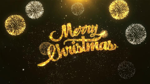 Merry Christmas Celebration, Wishes, Greeting Text on Golden Firework Animation