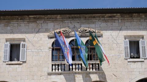 Flags on Communal Palace, Pula, Croatia Footage