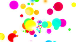 Fountain of color dots and color smoke on white background CG動画素材