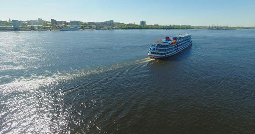 Passenger ship moving along the river Footage