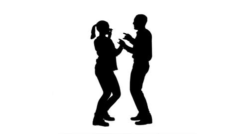 Silhouette Young couple dancing together Live Action