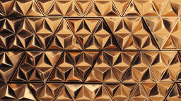3D animation of the golden wall made of moving triangles Animation