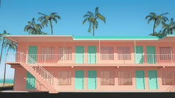 3D animation of motel buildings standing next to the beach with ocean view Animación