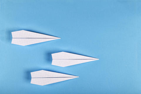 concept creativity, learning, startup, success. airplane. top view copy space. フォト