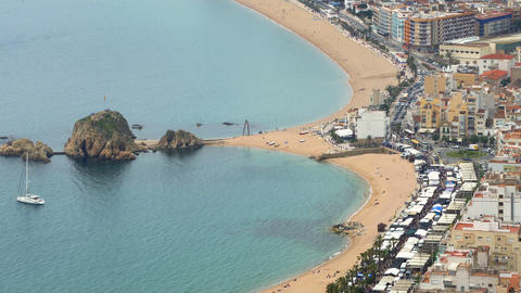 """Aerial view of """"BLANES"""", beaches, seafront, and town.Time lapse Footage"""