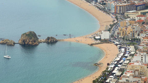 """Aerial view of """"BLANES"""", beaches, seafront, and town Footage"""
