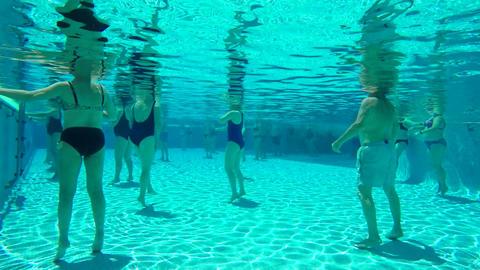 Underwater Aerobics In Swimming Pool Footage