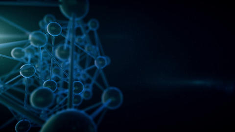 Seamless looping molecules on a black background Footage