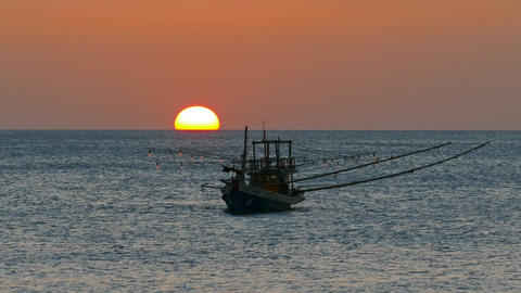 fishing boat in the sea against setting sun Footage