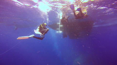 Divers surfacing after a dive right to the gangway of the yacht Footage