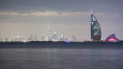 4k beautiful sunset dubai panoramic time lapse Footage