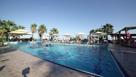hotel sunny swimming pool time lapse from uae Footage