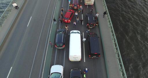 Crowd Of People Walk On The Bridge Between Cars 4k Footage