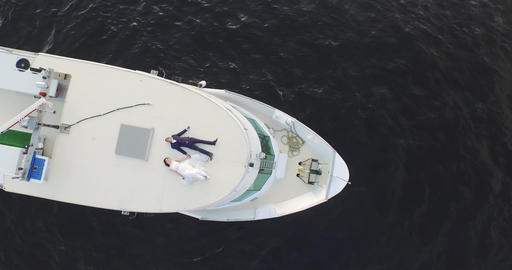 Happy Bride And Groom On A Luxury Yacht 4k Footage