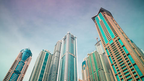 dubai marina skyscrapers time lapse Footage