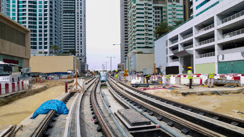 roads construction time lapse from dubai marina area Footage