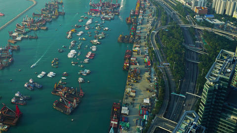 Hong Kong aerial view with sea, timelapse Footage