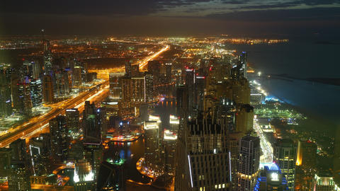 night light roads 4k time lapse from dubai city Footage