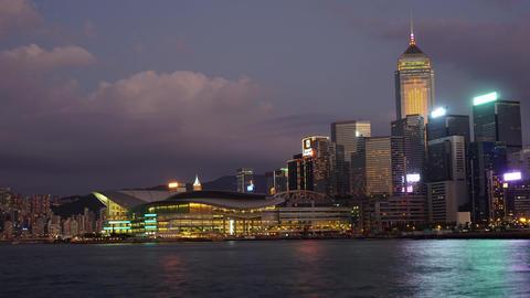 Hong Kong at night, zoom timelapse Footage