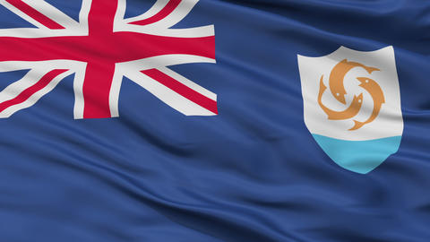 Close Up Waving National Flag of Anguilla Animation