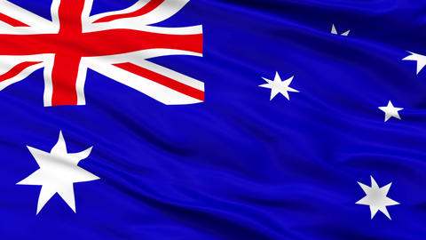 Close Up Waving National Flag of Australia Animation