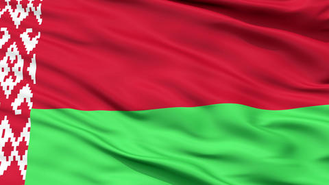 Close Up Waving National Flag of Belarus Animation