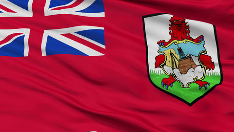 Close Up Waving National Flag of Bermuda Animation
