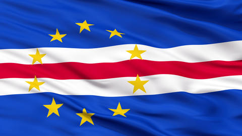 Close Up Waving National Flag of Cape Verde Animation