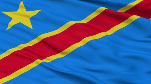 Close Up Waving National Flag of Democratic Republic of the Congo Animation