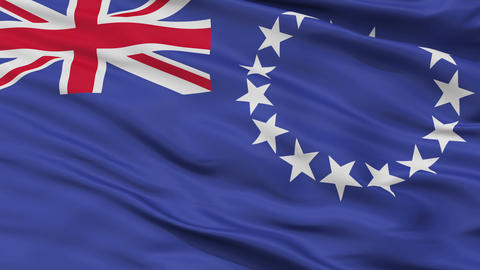 Close Up Waving National Flag of Cook Islands Animation