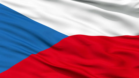 Close Up Waving National Flag of Czech Republic Animation