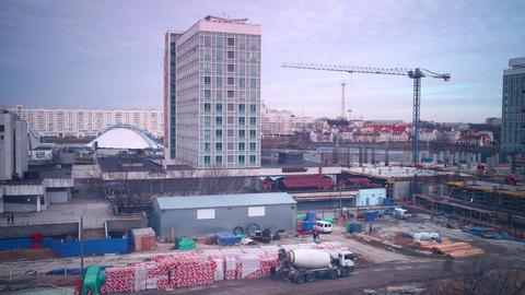 minsk backyard hotel construction 4k time lapse Footage