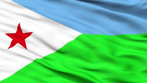 Close Up Waving National Flag of Djibouti Animation