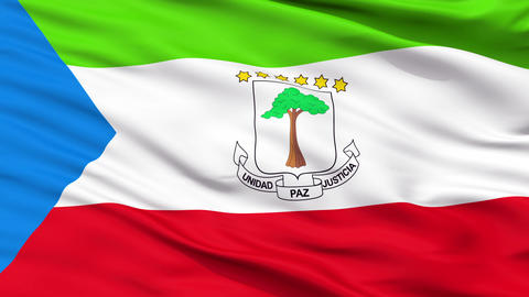 Close Up Waving National Flag of Equatorial Guinea Animation